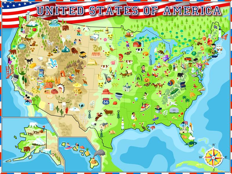 USA Illustrated Atlas - Cartoon map of the us